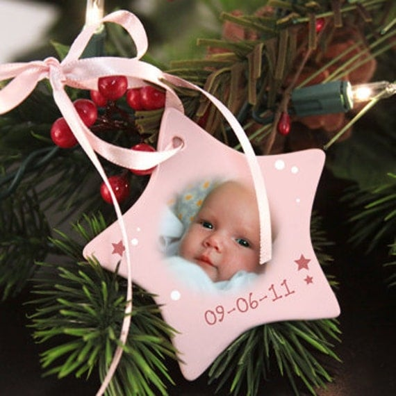 "Personalized Christmas Holiday Ornament for Baby Girl - ""Baby's First"" with Name, Birthdate, and Photo"