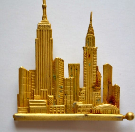 Vintage Skyline Brooch in Antique Gold Tone, Collectors Item, FREE U S A Shipping