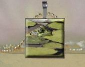 Glass Tile Pendant   Prince Charming Frog Hanging at the Lily Pad Pond