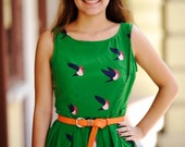 Bridesmaid Emerald Green Shift Dress with Birds of Paradise Prints