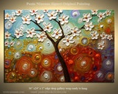 ORIGINAL Abstract Modern Texture Painting Spring Blooms Large Gallery Style and Quality Artwork from Paula Nizamas 36""
