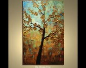 ORIGINAL Multi - layer Texture Painting The Dream Tree, soft blue, ochre, sienna, brown, by P. Nizamas 36""