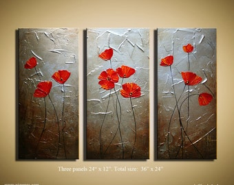 "Painting on canvas  Poppies Silver and Aged Gold Background texture art from P. Nizamas 36"" by 24"""