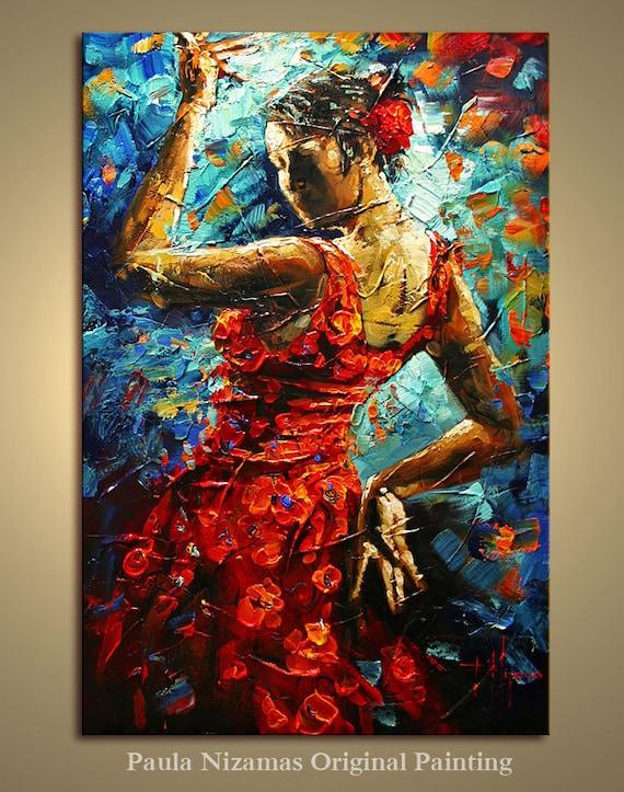 Flamenco Dancer original abstract oil single canvas large