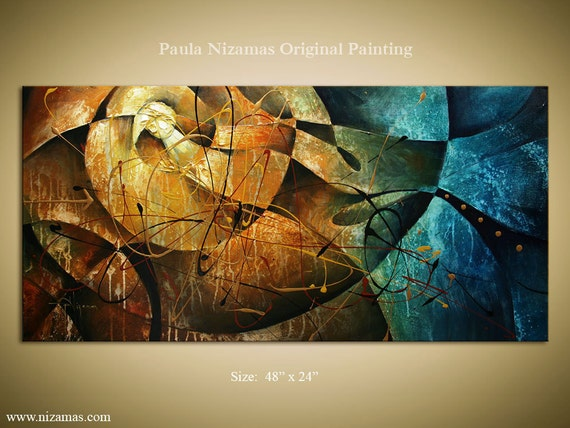 Original Abstract Modern Contemporary Painting, Rust, Blue, Ochre, Ready to Hang Stretched Canvas by Paula Nizamas