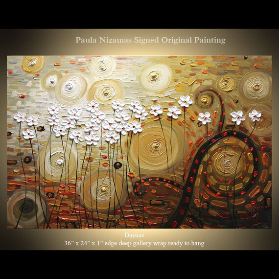 "Original Palette Knife Textured Impasto Modern painting Wild Daisies  by P.Nizamas 36"" by 24"""