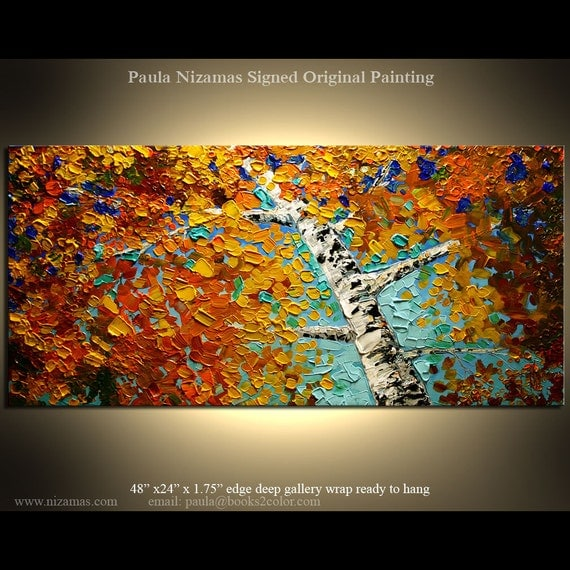 ORIGINAL Abstract Modern Canvas Gallery Quality Wrap - Palette Knife Painting Autumn  from Paula Nizamas