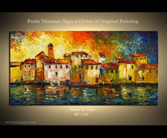 Modern Contemporary Abstract Giclee  Print on museum quality archival canvas of Original painting  from P. Nizamas 48