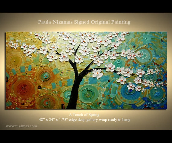 ORIGINAL Abstract Modern Canvas Gallery Quality Wrap Oil painting Palette Knife A Touch of Spring from P. Nizamas