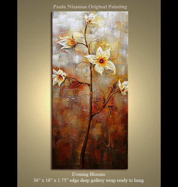 "Floral Original Modern Palette Knife textured Evening Blooms  Oil painting  on framed canvas by P. Nizamas  36"" by 24"""