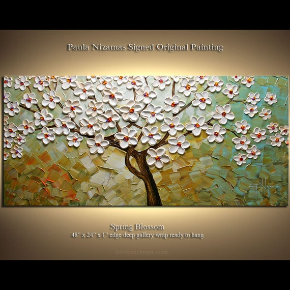 "Original Abstract Modern Contemporary Painting Wrapped in Blooms Ready to Hang by Paula Nizamas 48"" x 24"""