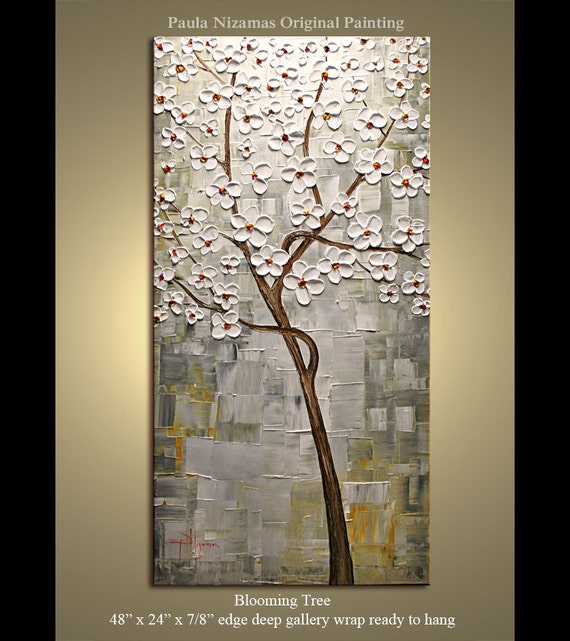"Abstract Modern Canvas Gallery Quality Palette Knife  Impasto Blooming Tree Painting from P. Nizamas 48"" x 24"""