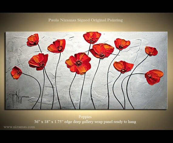 """Wild Red Poppies Original Palette Knife textured painting on framed canvas by Paula Nizamas 36"""" ready to hang"""