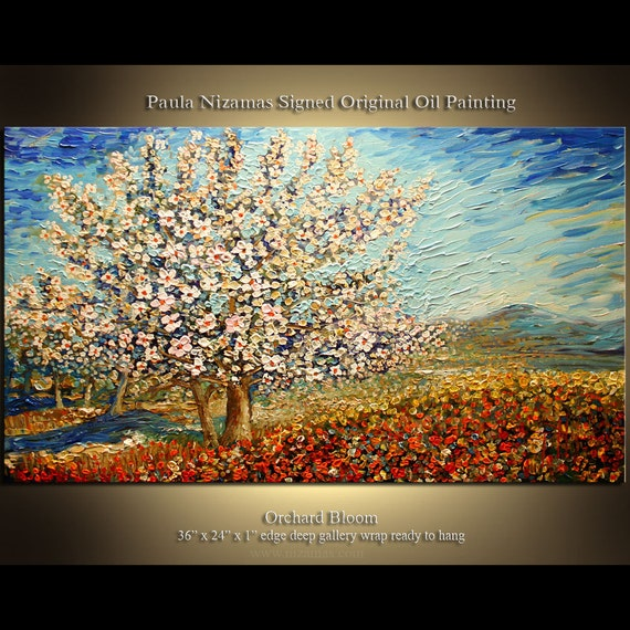 Orchard Bloom ORIGINAL Abstract Modern Landscape Palette Knife Painting on Canvas from  P. Nizamas ready to hang