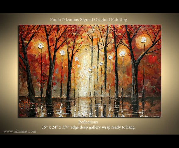 ORIGINAL  Modern Oil  Palette Knife painting red, sienna, brown, grey, from  P. Nizamas Fine Art 3FTx2FT