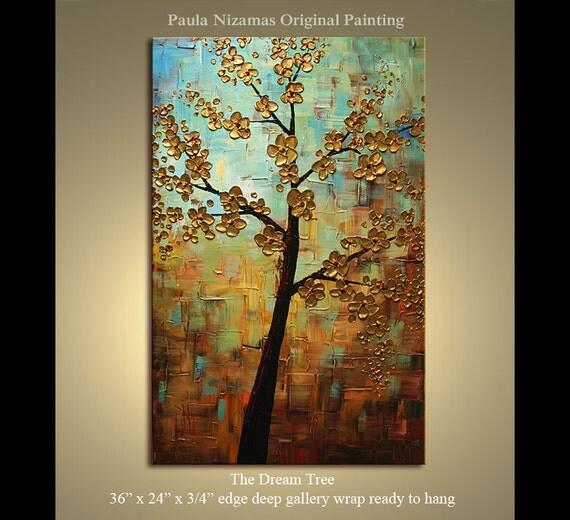 "ORIGINAL Multi - layer Texture Painting The Dream Tree, soft blue, ochre, sienna, brown, by P. Nizamas 36"""