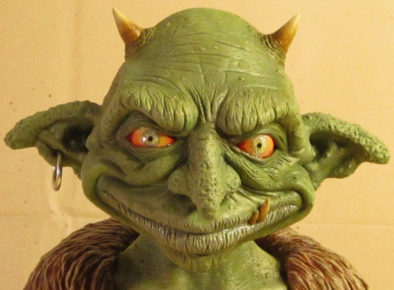 Nilbog the Goblin OOAK Small-Scale Polymer Clay Bust