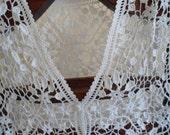 Wedding white crochet lace vest size one size fits medium to large.