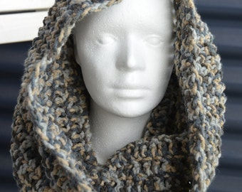 Chunky Hooded Cowl Crochet Pattern - Cowl Scarf Crochet Pattern - DIY Cowl Crochet Pattern