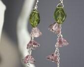 Sweet Glass Bell Flower and Leaf Sterling Silver Drop Earrings