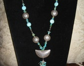 22 inch Turquoise and Silver necklace and earring set