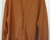 Vintage John Scott Lambswool Cardigan Scotland Rusty Brown Men XL