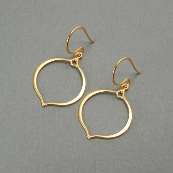 24k Gold Small Arabesque Earring Frame - Lotus Petal Shape - 1 Pair - Gold Plated Sterling Silver - Destash Earring Finding
