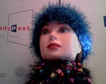 Marine Blue FUN Furry Beanie Hat Skullcap Cancer Cap Knit Fur Womens Large Plus Size Women's Crocheted Ocean Blue Fur Warm Sock Cap