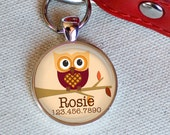 Autumn Owl Custom ID Tag-- Tag Clip Included