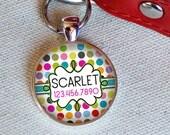 Colorful Polka-Dots Custom ID Tag-- Tag Clip Included
