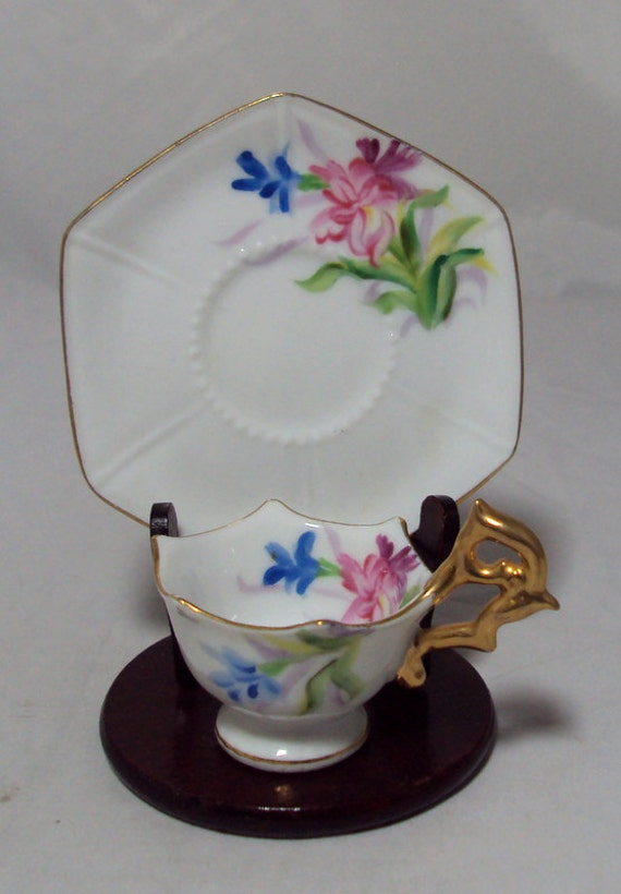 Child's Doll House Miniature Floral Cup & Saucer OJ Occupied Japan  RESERVED for Euleta