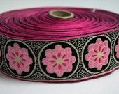 Pink and Black Zinnia Jacquard Ribbon with Pinstripes - 1 Yard