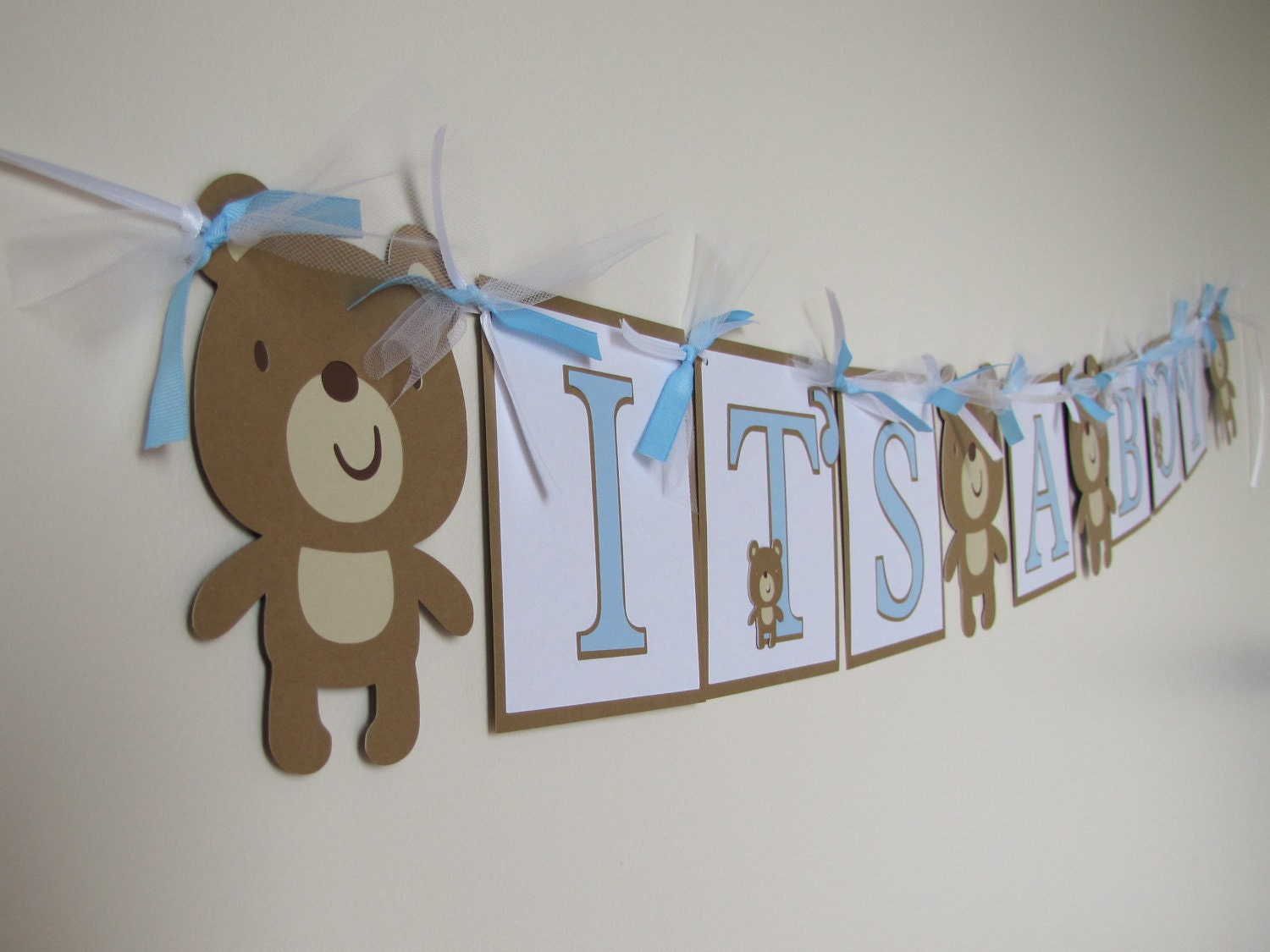 Its a boy teddy bear baby shower banner Baby shower banners