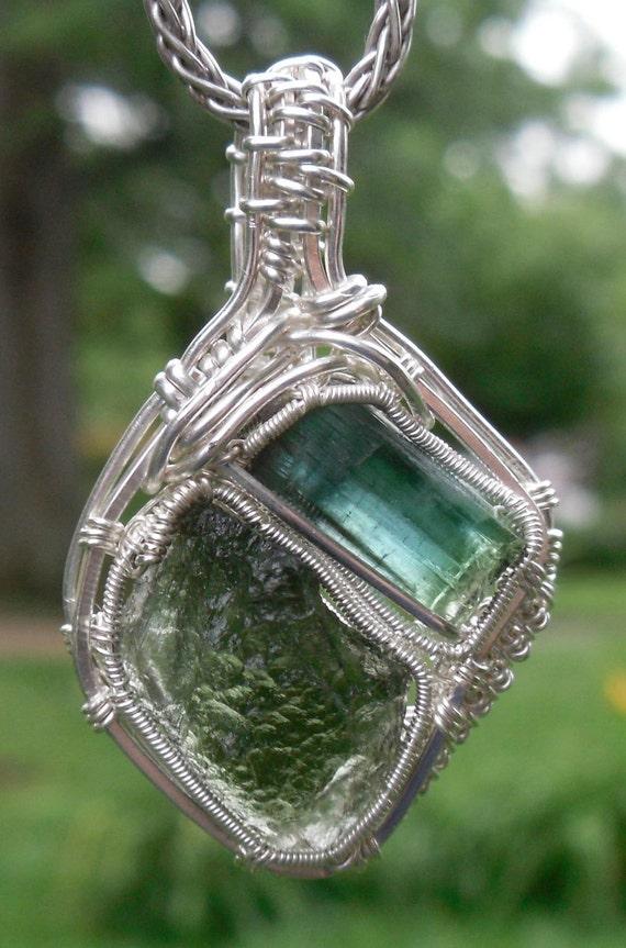 Moldavite and Brazilian Blue/ Green Bi-color Tourmaline wire wrapped in Sterling Silver