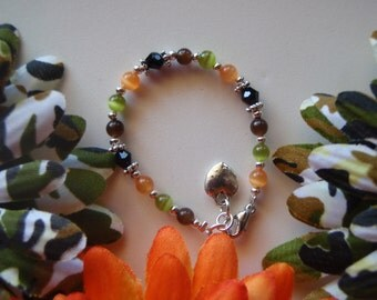 Beautiful Parley Ray Camo Baby Bracelet Cat Eye Beads, Tibetan spacers, Swarovski Crystals, Heart Charm