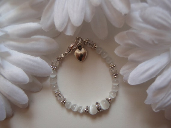 Beautiful Custom Baby Bracelet  for Blessing/ Christening Cat Eye, Tibetan spacers, Swarovski Crystal, Charm