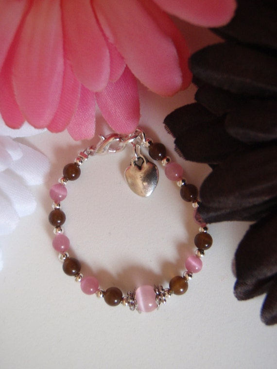 Parley Ray Custom Baby Girls Pink & Brown Bracelet Swarovski Crystal, Cat Eye Beads, Tibetan Silver, Heart Charm