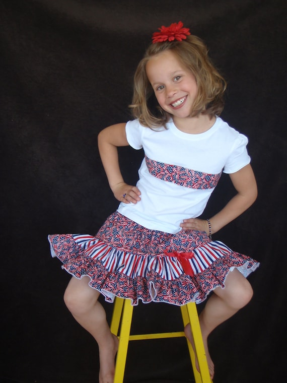 Beautiful Parley Ray Patriotic Girls Full Ruffle Skirt/ Shirt Independence Day 4th of July Pageants /Photo Props