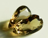 Matched Pair  -- Gorgeous AAA Faceted Smoky Quartz Pear Briolettes, 18.5 x 11 x 8.5 mm