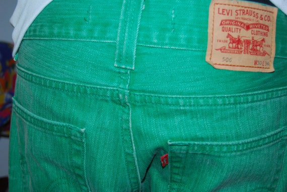 Apple Green Levi 506 Jeans  - W30 L34 - Hand Dyed
