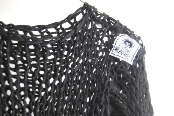 Punk Cobweb Knit Jumper - Delicate Fine Knit -Grunge - Black