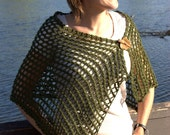 Forest Green Lace Shawl / Cowl / Scarf  - Spring Summer -  Hand Knit