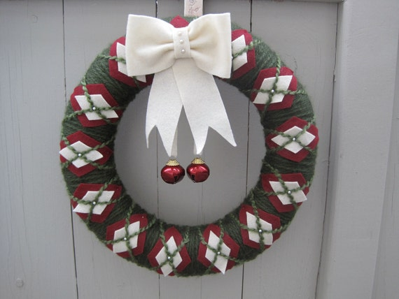 RESERVED for COLLEEN HOERMAN / Preppy Jingle Bells, 14 inch Wreath