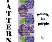 50% Off - Bead Pattern Sonata in purple bracelet, Loom, Peyote and Peyote 2 drop.