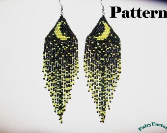 Pattern Moonlight Sonata seed beads brick stitch earrings