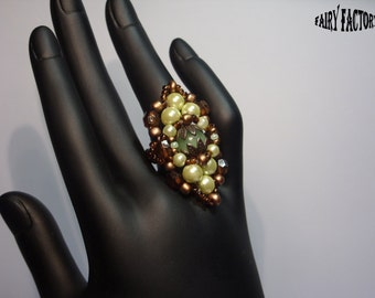 50% Off - Over the hills and far away - ring, seed beads handmade jewelry pattern