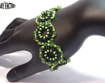 Jade Serpent  -  Cuff/Bracelet PDF Pattern, seed beads handmade
