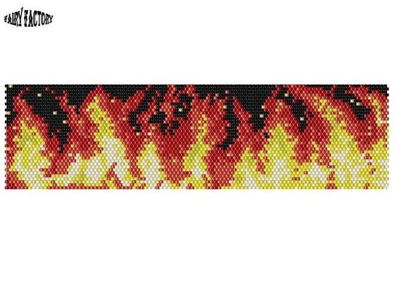 50% Off - Inside The Fire  - Cuff/Bracelet PDF Pattern peyote/brick stitch