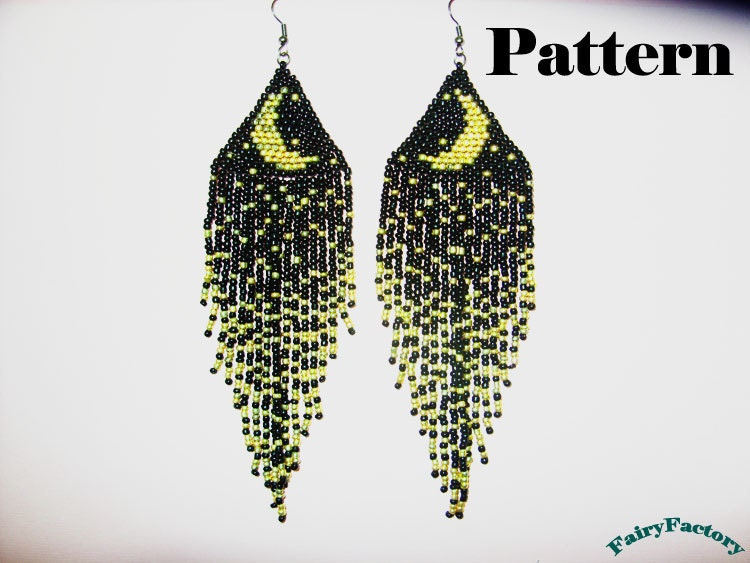 pattern moonlight sonata seed brick stitch earrings