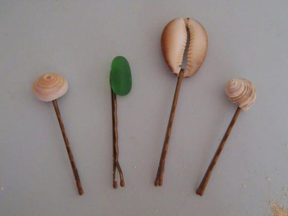 Beach Barrettes - Hawaiian Jewelry - Shell Bobby Pins